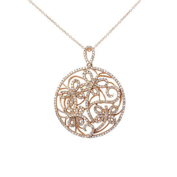 Natural 0.79 CTW Diamond Necklace 14K Rose Gold - REF-90F2M