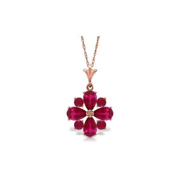Genuine 2.23 ctw Ruby Necklace 14KT Rose Gold - REF-35A5K