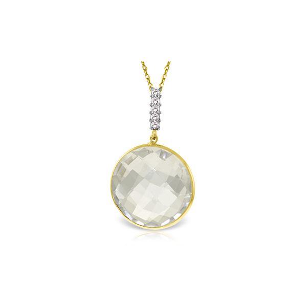 Genuine 18.08 ctw White Topaz & Diamond Necklace 14KT Yellow Gold - REF-50V3W