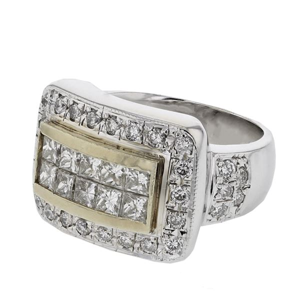 Natural 1.73 CTW Diamond & Princess Diamond Ring 18K Two Tone Gold - REF-254N7Y