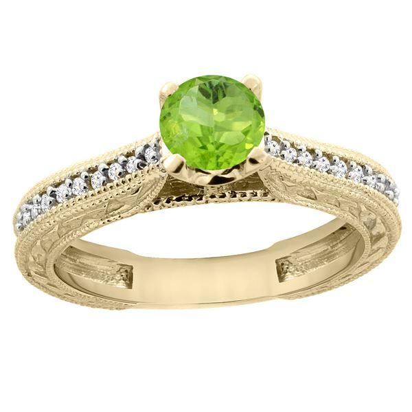 0.60 CTW Peridot & Diamond Ring 14K Yellow Gold - REF-53A2X