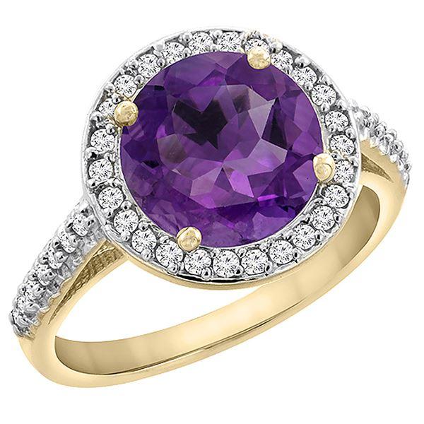 2.44 CTW Amethyst & Diamond Ring 10K Yellow Gold - REF-57V3R