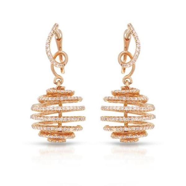 Natural 1.58 CTW Diamond Earrings 14K Rose Gold - REF-123K3R