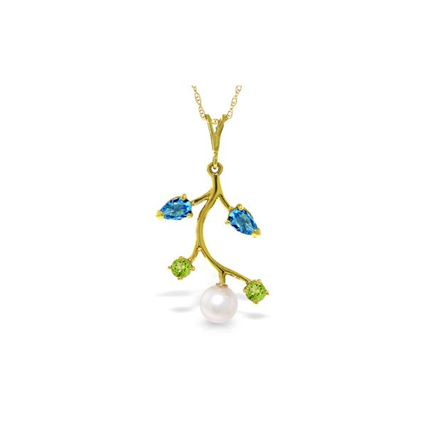 Genuine 2.7 ctw Blue Topaz, Peridot & Pearl Necklace 14KT Yellow Gold - REF-29T7A