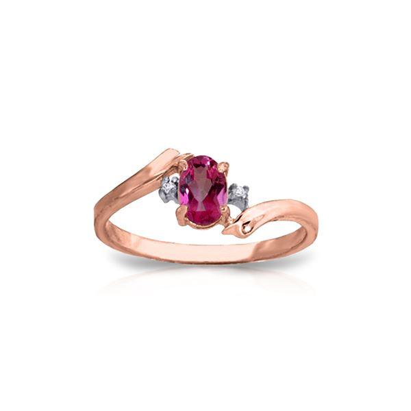 Genuine 0.46 ctw Pink Topaz & Diamond Ring 14KT Rose Gold - REF-28F3Z