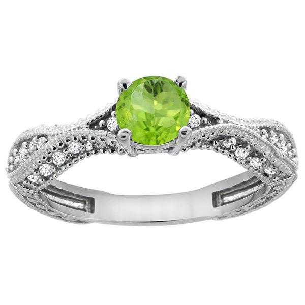 0.70 CTW Peridot & Diamond Ring 14K White Gold - REF-67W7F