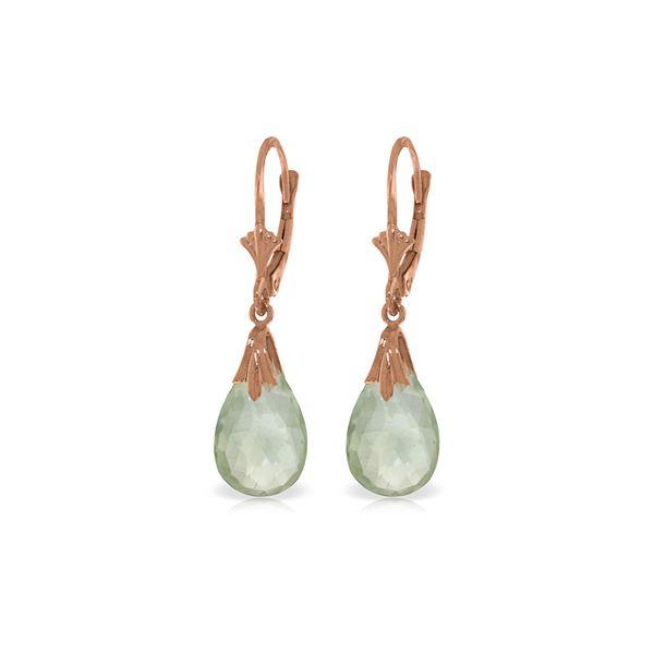 Genuine 6 ctw Green Amethyst Earrings 14KT Rose Gold - REF-27K8V