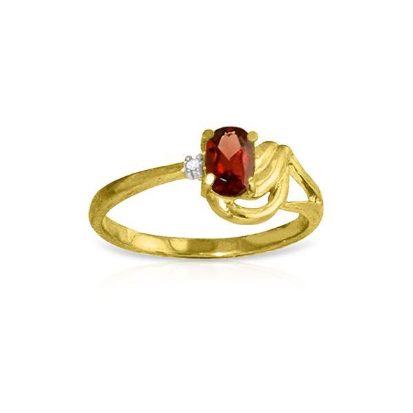Genuine 0.46 ctw Garnet & Diamond Ring 14KT Yellow Gold - REF-30W6Y