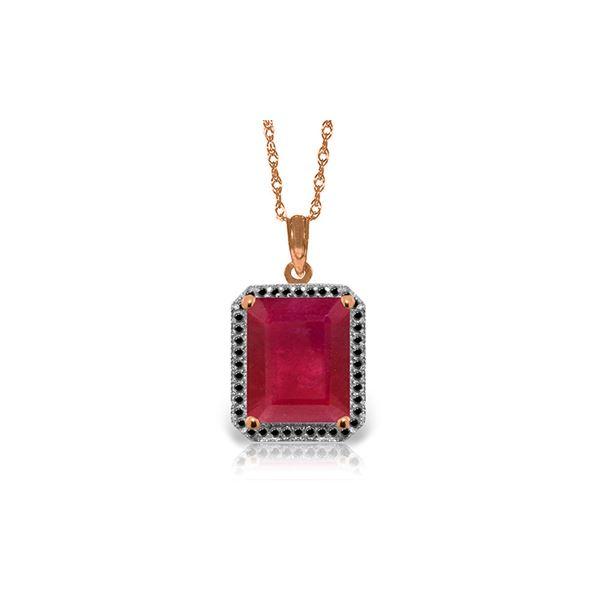 Genuine 7.45 ctw Ruby & Black Diamond Necklace 14KT Rose Gold - REF-105W5Y
