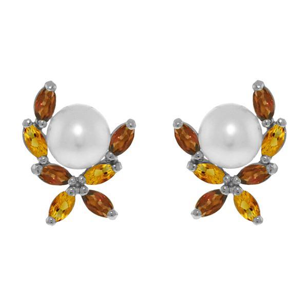 Genuine 3.25 ctw Pearl & Citrine Earrings 14KT White Gold - REF-30P2H