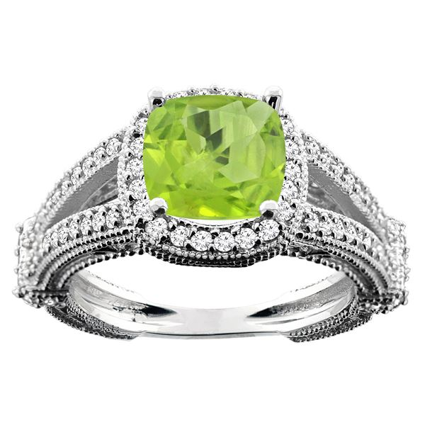 2.58 CTW Peridot & Diamond Ring 14K White Gold - REF-54M5A