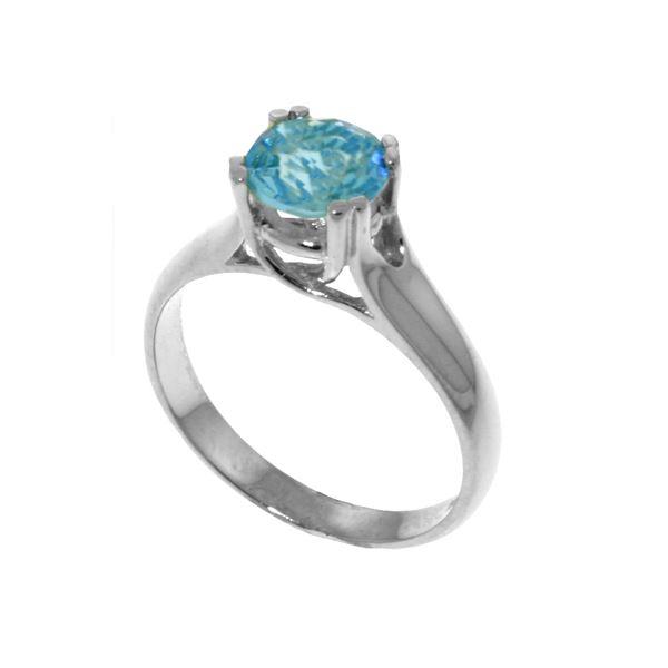 Genuine 1.10 ctw Blue Topaz Ring 14KT White Gold - REF-57R3P