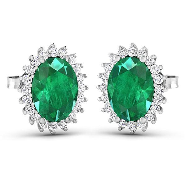 Natural 2.46 CTW Zambian Emerald & Diamond Earrings 14K White Gold - REF-49M3T