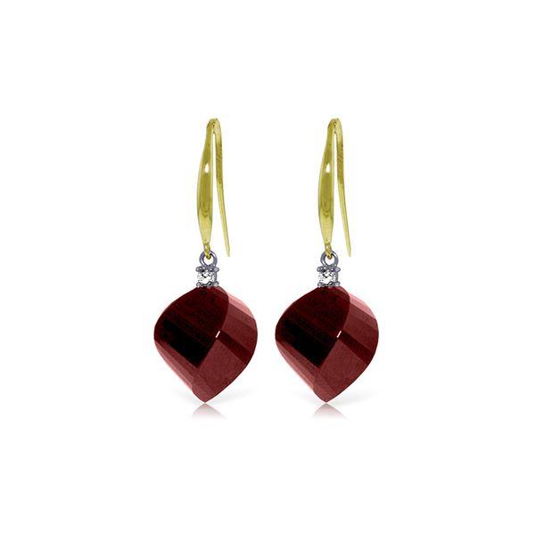 Genuine 30.6 ctw Ruby & Diamond Earrings 14KT Yellow Gold - REF-51H9X