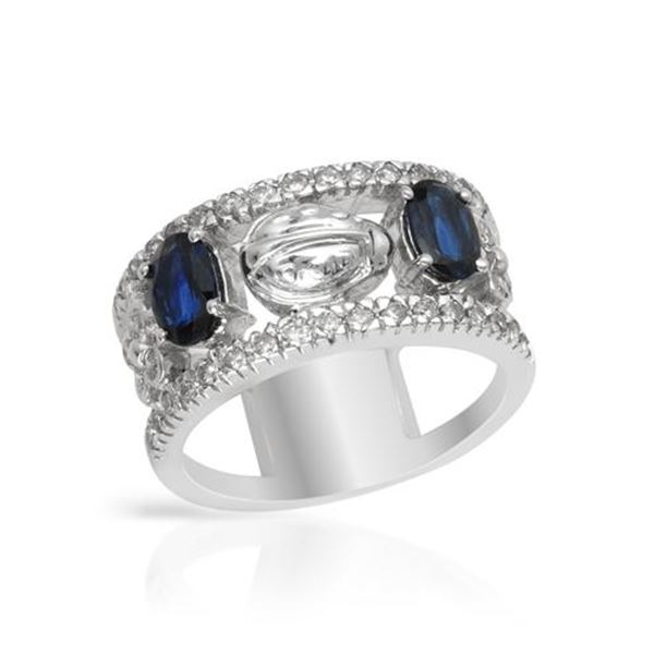 Natural 1.76 CTW Sapphire & Diamond Ring 14K White Gold - REF-107N3Y