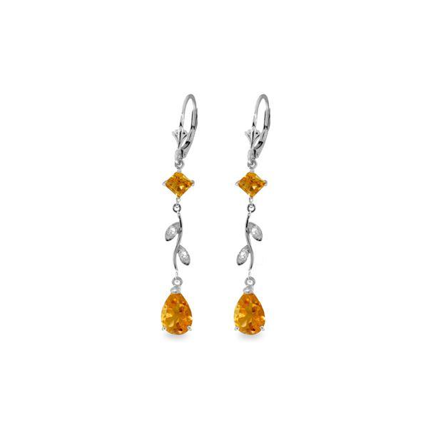 Genuine 3.97 ctw Citrine & Diamond Earrings 14KT White Gold - REF-44P9H