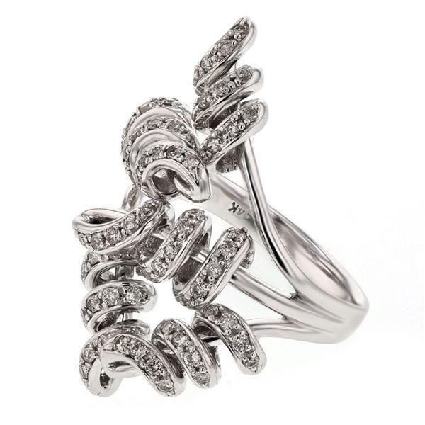 Natural 0.71 CTW Diamond Ring 14K White Gold - REF-122N4Y