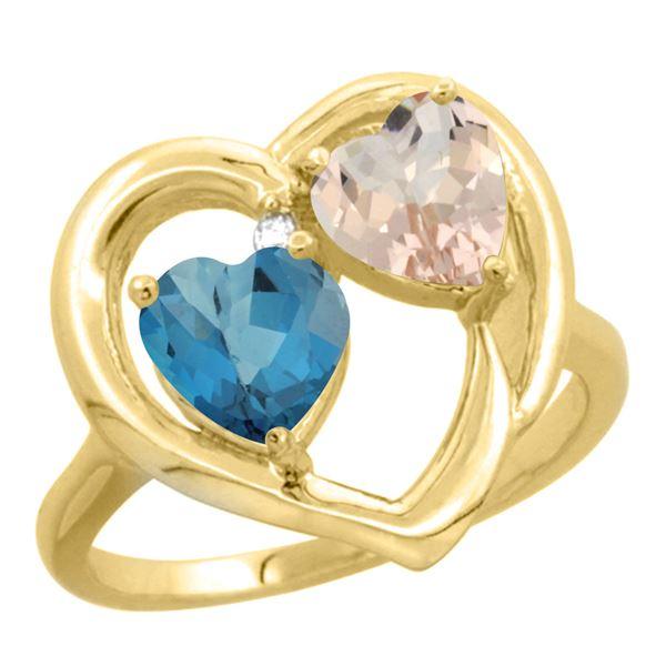 1.91 CTW Diamond, London Blue Topaz & Morganite Ring 14K Yellow Gold - REF-36X9M