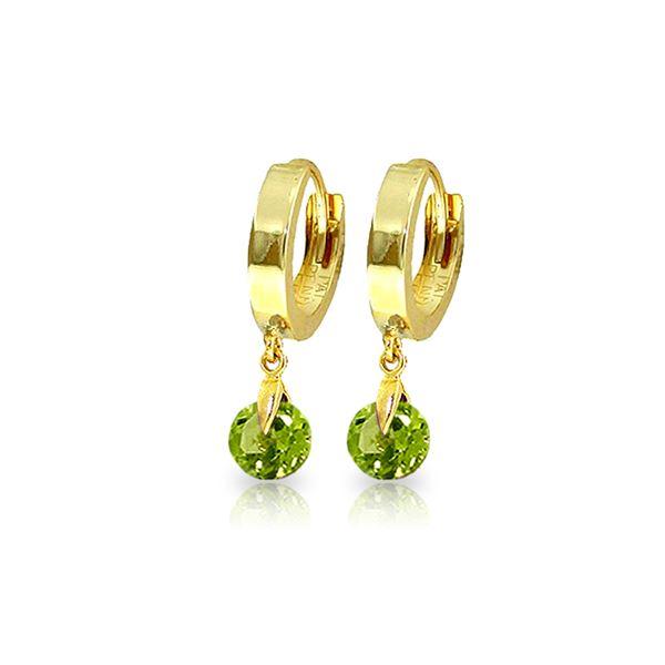 Genuine 2 ctw Peridot Earrings 14KT Yellow Gold - REF-25Y9F