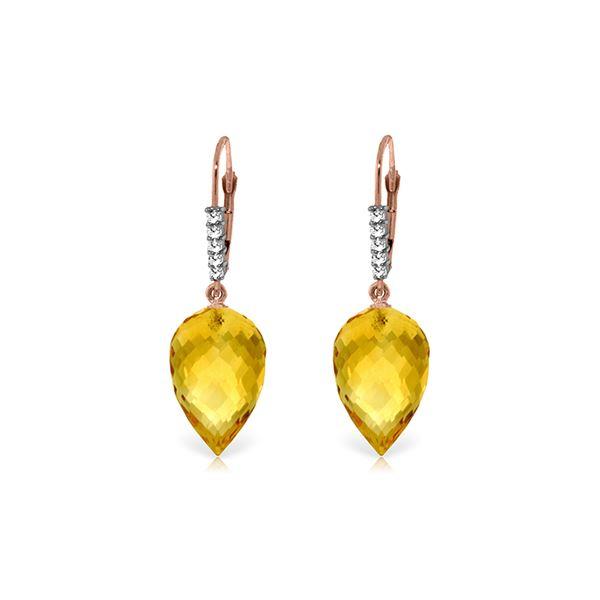 Genuine 19.15 ctw Citrine & Diamond Earrings 14KT Rose Gold - REF-49H2X