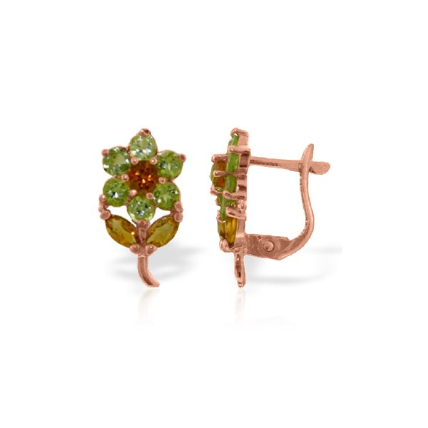 Genuine 2.12 ctw Citrine & Peridot Earrings 14KT Rose Gold - REF-36H8X