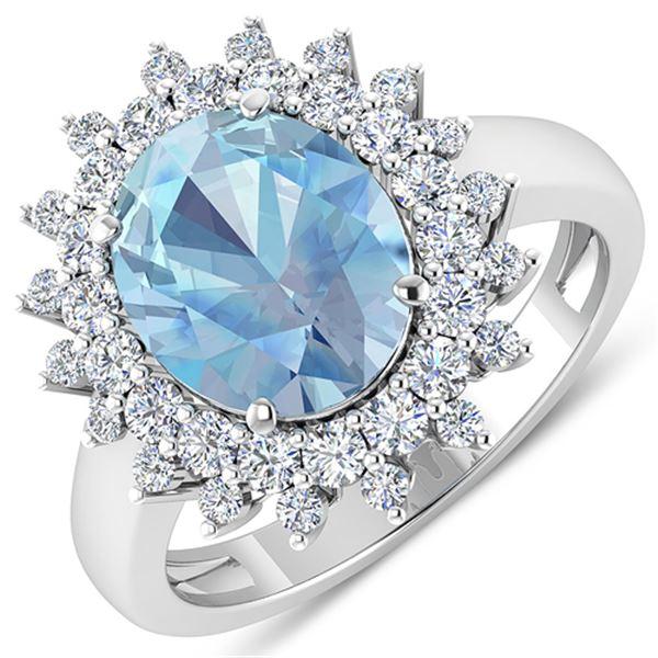 Natural 3.49 CTW Aquamarine & Diamond Ring 14K White Gold - REF-135K5W