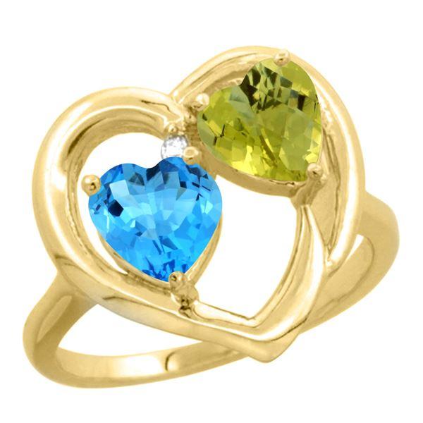 2.61 CTW Diamond, Swiss Blue Topaz & Lemon Quartz Ring 10K Yellow Gold - REF-23X5M
