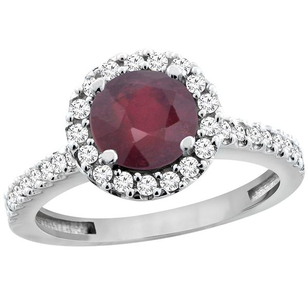 1.43 CTW Ruby & Diamond Ring 10K White Gold - REF-54A9X