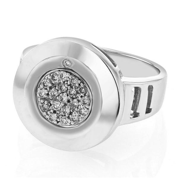 Natural 0.20 CTW Diamond Ring 18K White Gold - REF-91T8X