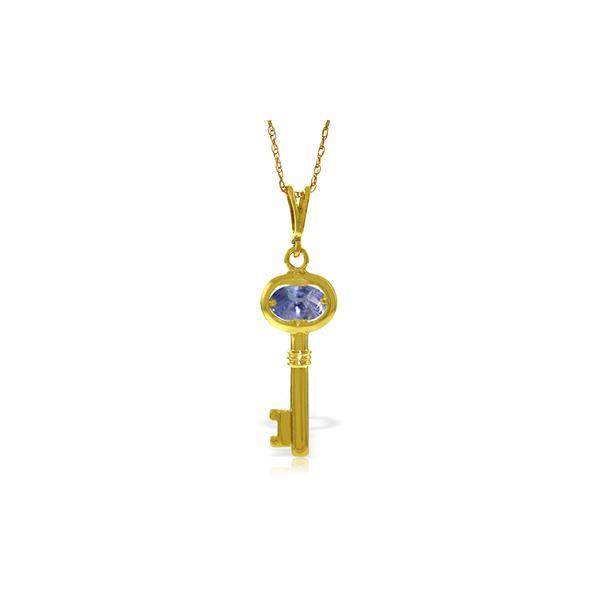 Genuine 0.50 ctw Tanzanite Necklace 14KT Yellow Gold - REF-35V9W