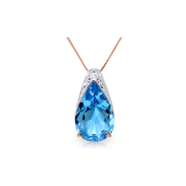 Genuine 6 ctw Blue Topaz Necklace 14KT Rose Gold - REF-28W3Y