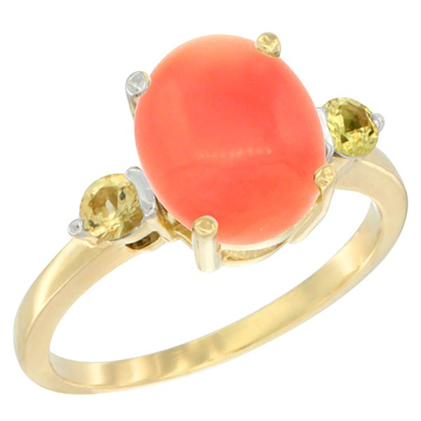 0.24 CTW Yellow Sapphire & Natural Coral Ring 10K Yellow Gold - REF-23H9M