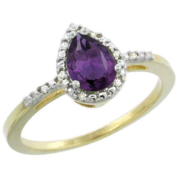 1.55 CTW Amethyst & Diamond Ring 10K Yellow Gold - REF-20M7A