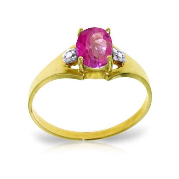 Genuine 0.76 ctw Pink Topaz & Diamond Ring 14KT Yellow Gold - REF-26N2R