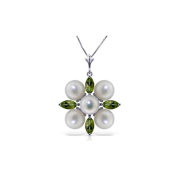 Genuine 6.3 ctw Peridot & Pearl Necklace 14KT White Gold - REF-59P2H