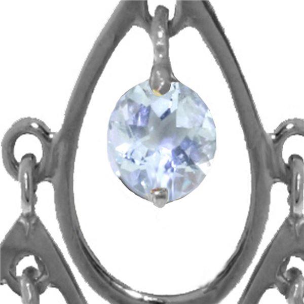 Genuine 1.20 ctw Aquamarine Necklace 14KT White Gold - REF-34Y3F