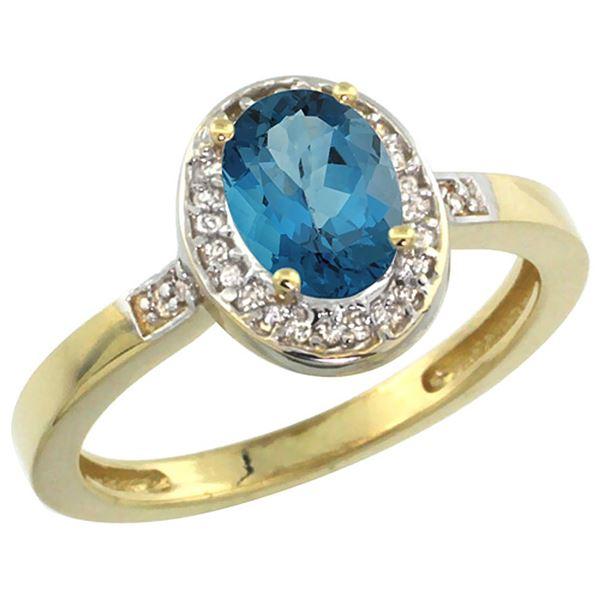 1.15 CTW London Blue Topaz & Diamond Ring 10K Yellow Gold - REF-31Y7V
