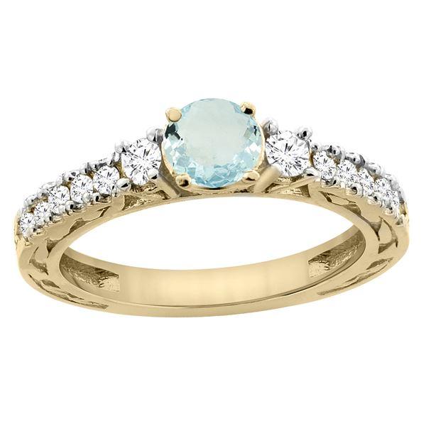 1.10 CTW Aquamarine & Diamond Ring 14K Yellow Gold - REF-81W4F