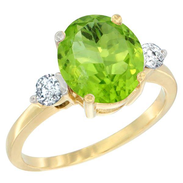 2.98 CTW Peridot & Diamond Ring 10K Yellow Gold - REF-65Y5V