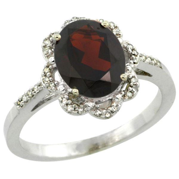 1.94 CTW Garnet & Diamond Ring 14K White Gold - REF-46V5R