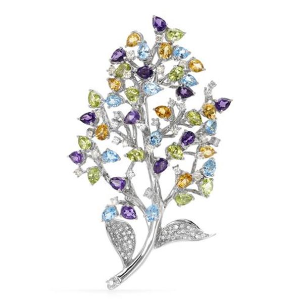 Natural 16.82 CTW Amtehyst, Citrine and Topaz & Diamond Brooch 18K White Gold - REF-537T3X