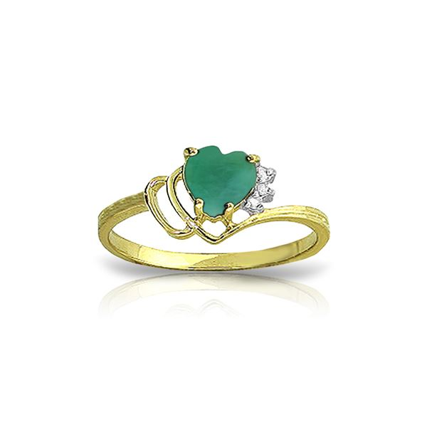 Genuine 1.02 ctw Emerald & Diamond Ring 14KT Yellow Gold - REF-36T9A