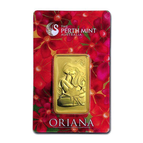 Genuine 1 oz 0.9999 Fine Gold Bar - Perth Mint Oriana