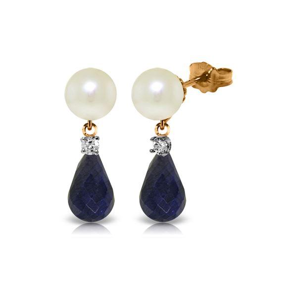 Genuine 8.7 ctw Pearl, Sapphire & Diamond Earrings 14KT Rose Gold - REF-27R6P