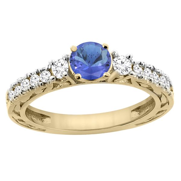 1.19 CTW Tanzanite & Diamond Ring 14K Yellow Gold - REF-85K5W