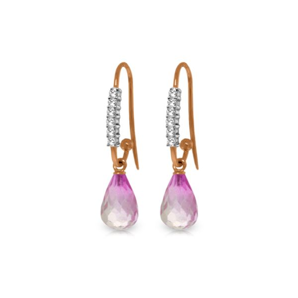 Genuine 4.68 ctw Pink Topaz & Diamond Earrings 14KT Rose Gold - REF-42X2M