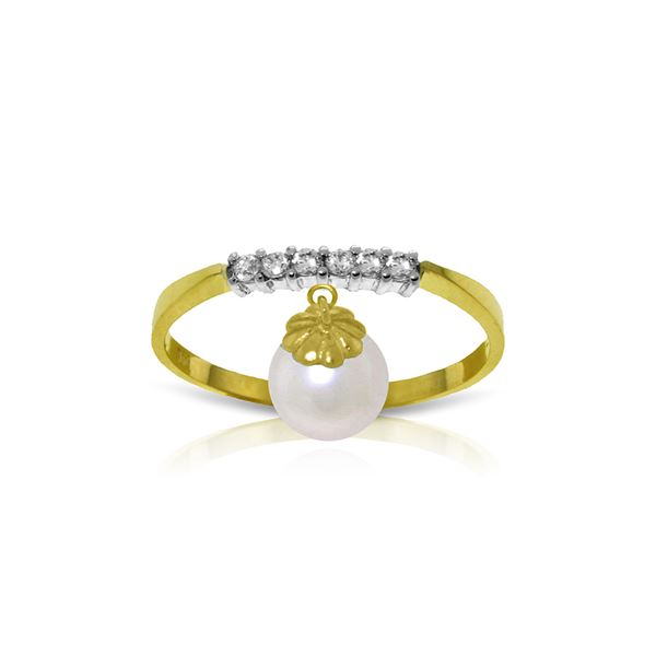 Genuine 2.1 ctw Pearl & Diamond Ring 14KT Yellow Gold - REF-33N7R