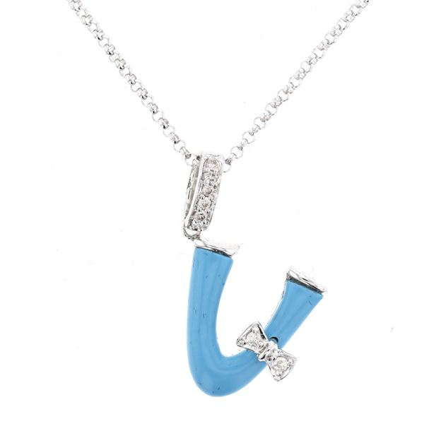 Natural 1.33 CTW Turquoise & Diamond Necklace 14K White Gold - REF-26T3X