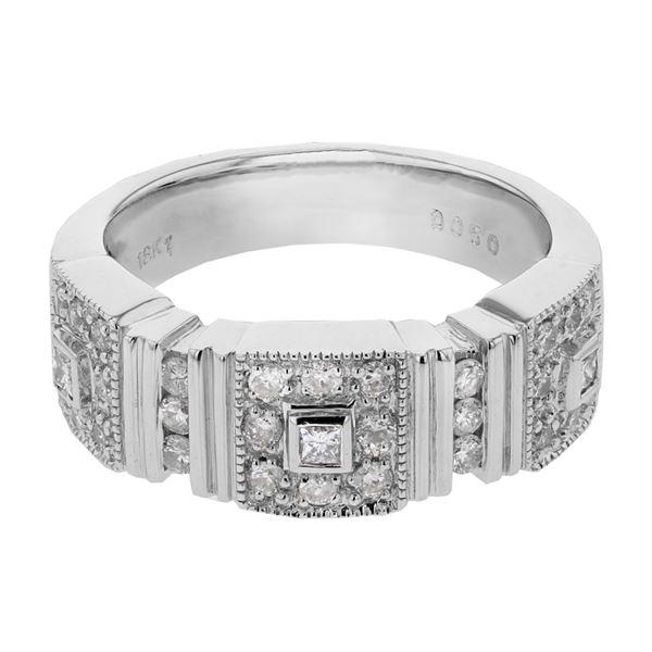 Natural 0.50 CTW Diamond & Princess Diamond Ring 18K White Gold - REF-132K3R
