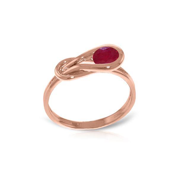 Genuine 0.65 ctw Ruby Ring 14KT Rose Gold - REF-49Y6F